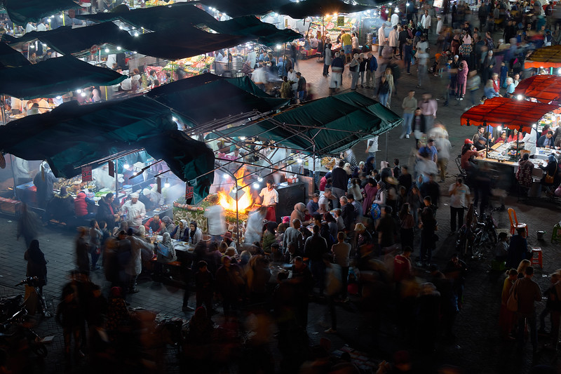 The main market in Marrakech, Jemma el-Fnaa, at night.