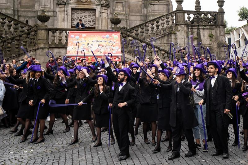 Porto, Portugal.   Graduation parade in Queima das Fitas - Burning of the Ribbons celebration