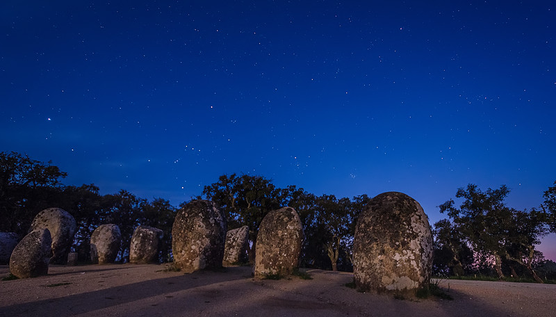 Portugal Cromlech of the Almendres Megalithic Complex Night Photography 5 By Messagez com