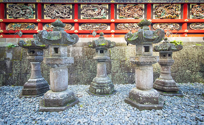 Lanterns at a temple in Nikko, Japan