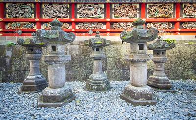 Lanterns at a temple in Nikko, Japan