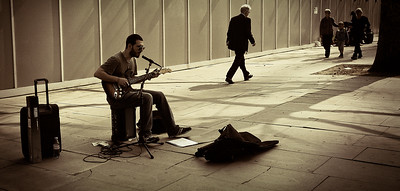 Busking on the Southbank, London, England