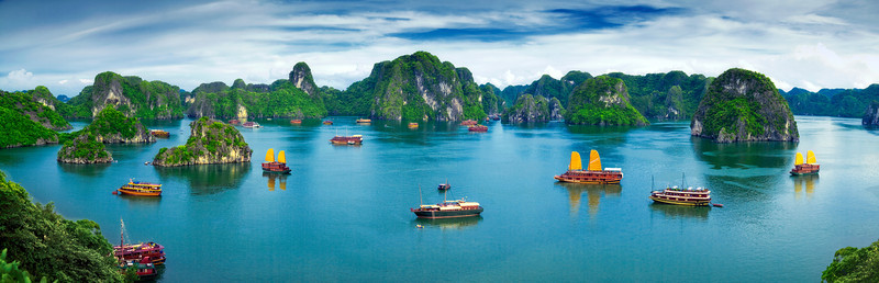 Chinese junks in Halong Bay