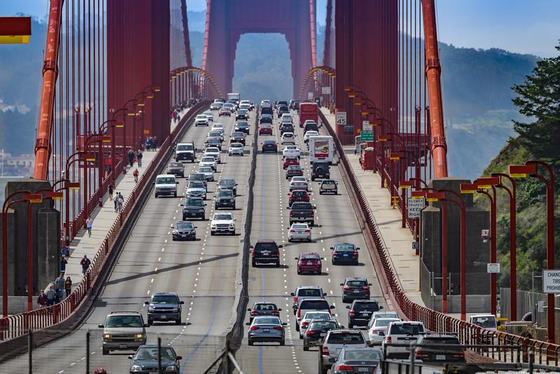 Traffic on the Golden Gate Bridge, San Francisco, California