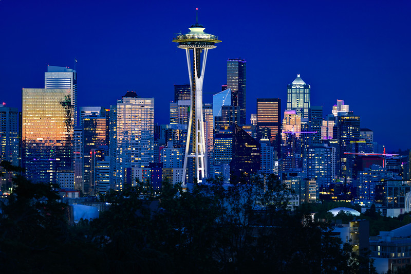 Space Needle and Seattle skyline just after sunset