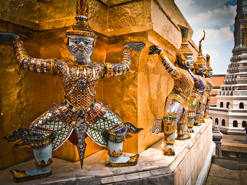 Bangkok, Thailand: Warrior sculptures at the Grand Palace.