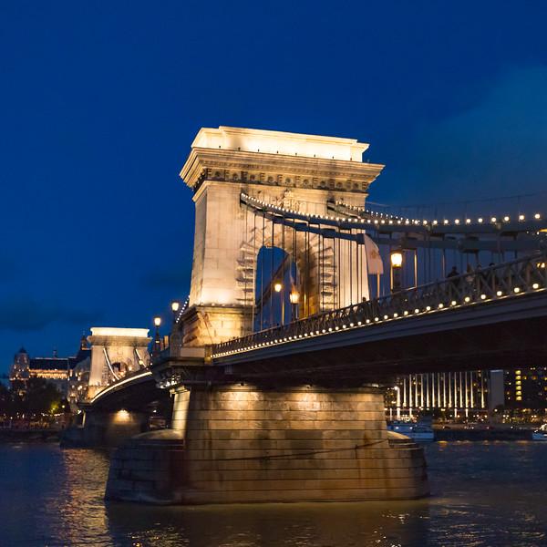 The Chain Bridge at twilight.