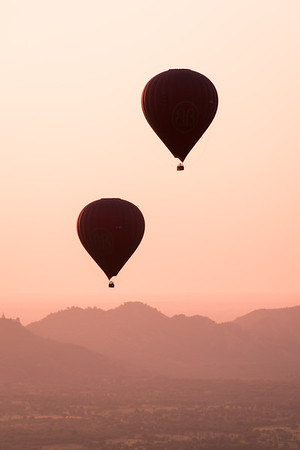 Hot air balloons float above Bagan, Myanmar.