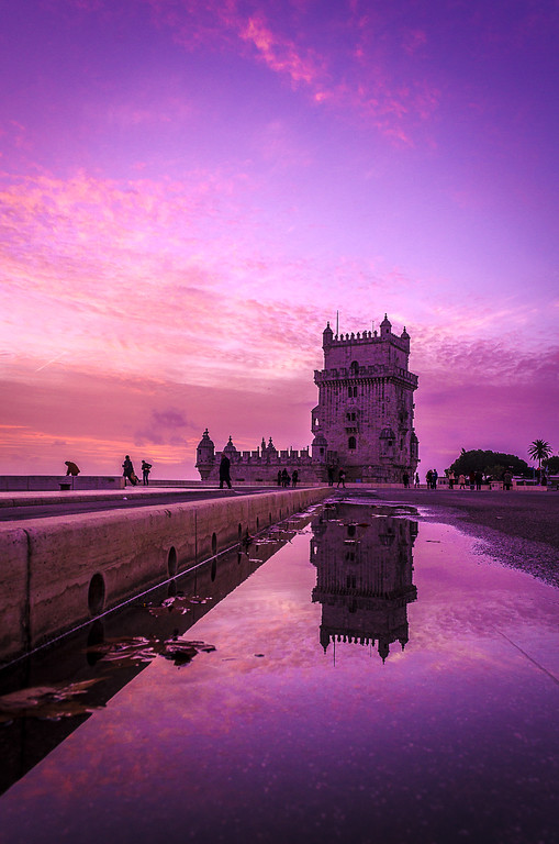Pink Lisbon Tower Reflection Photography By Messagez com