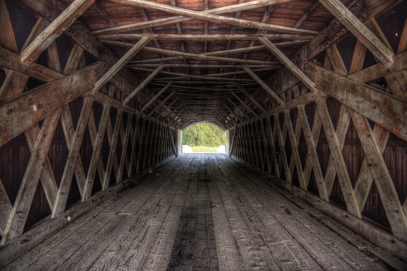 Looking through the Roseman Bridge near Winterset, Iowa, one of the Bridges of Madison County