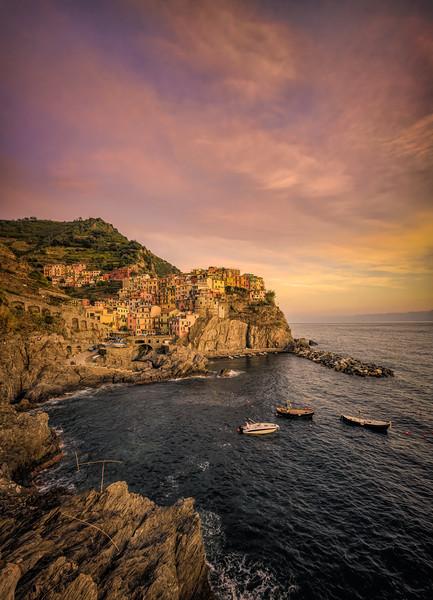 Sunset on Manarola, Cinque Terre, Italy
