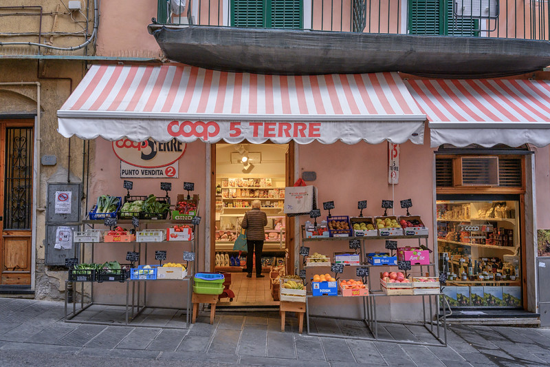 Grocery store in Riomaggiore, Cinque Terre, Italy