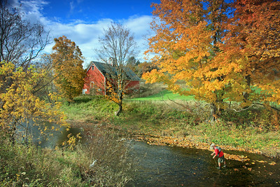 A fly fisherman fishing the Seymour river in Vermont during peak fall colors