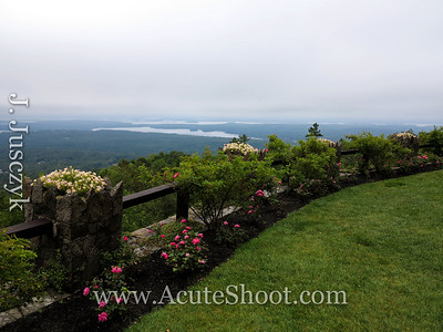 The garden in front of Lucknow with Lake Winnipesaukee in the background.