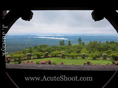 View from an upstairs balcony of Lake Winnipesaukee.
