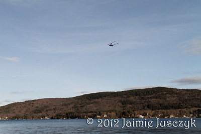 Helicopter rides over the lake for Winter Carnival.