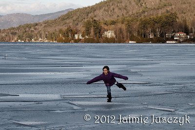 Alice doing some yoga on the frozen end of the lake.