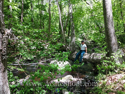 Jonathan relaxing on a tree over Sin and Flesh Brook.