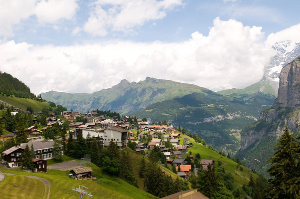 a birds eye view of Murren where we stayed for 5 days
