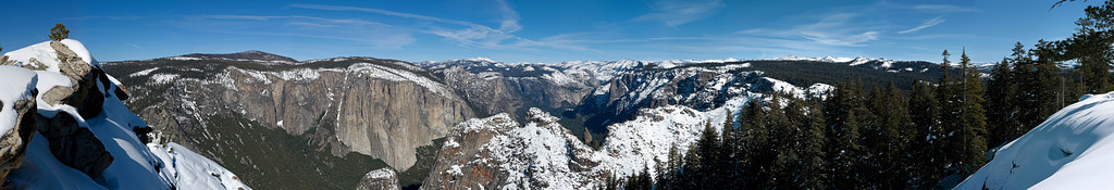 Dewey Point Panorama view of El Capitan, Yosemite Valley to Half Dome