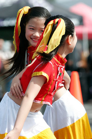 Girls performed tranditional Chinese Dance in Chinese New Year Celebration at San Diego Chinese School