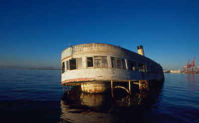 Sunk ship in Ensenada Bay, Mexico