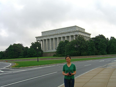 Standing at the end of the Memorial Bridge with the Lincoln Memorial in the background  http://www.nps.gov/linc/
