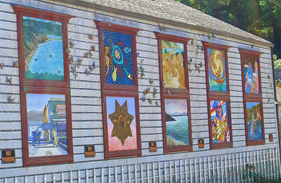 Bolinas murals. Bolinas is a haven for artists, scientists, and has some of the oldest organic farms in the country.