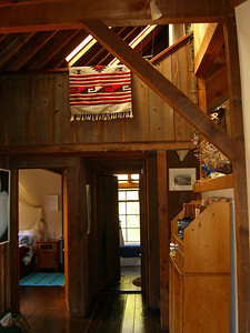 Looking towards bedroom, bath, Juniper House, Bolinas