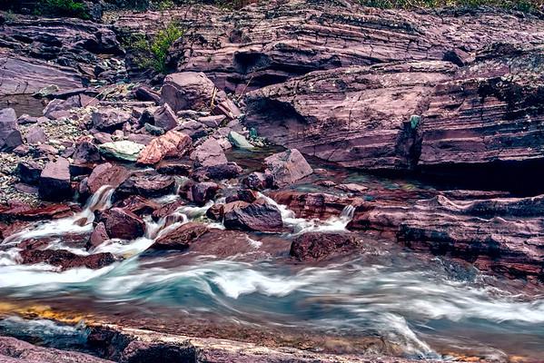 Riffles below the red rocks