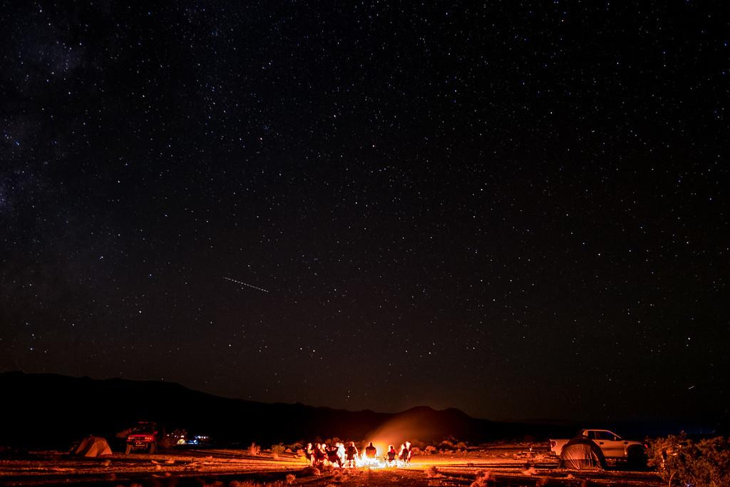 Death Valley campfire under the stars.