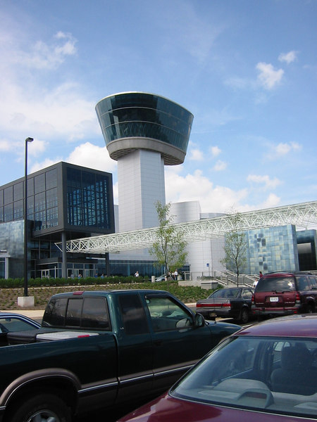 """Control tower"" of the museum.  It was actually an interesting exhibit on air traffic control and a give a nice view over to the Dulles Airport"