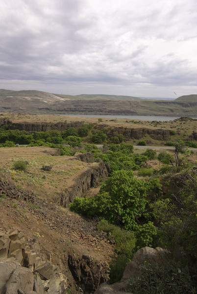 Dalles Mountain trail.  Looking out from the waterfall.