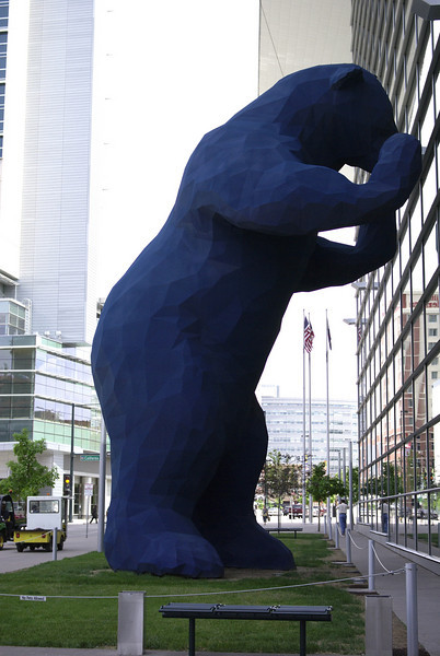 The giant blue bear outside the Denver convention center.