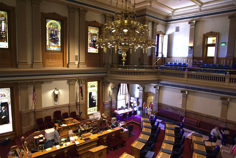 Inside the Colorado state capitol building. Senate Chamber.