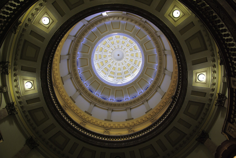 Inside the Colorado state capitol building. Main rotunda.