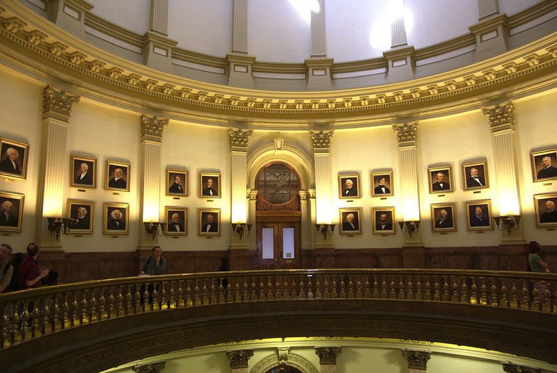 Inside the Colorado state capitol building. Hall of US Presidents in the main dome.