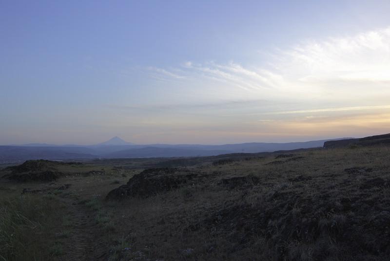 Horsethief Butte.  Closer to sunset, looking west toward Mount Hood.