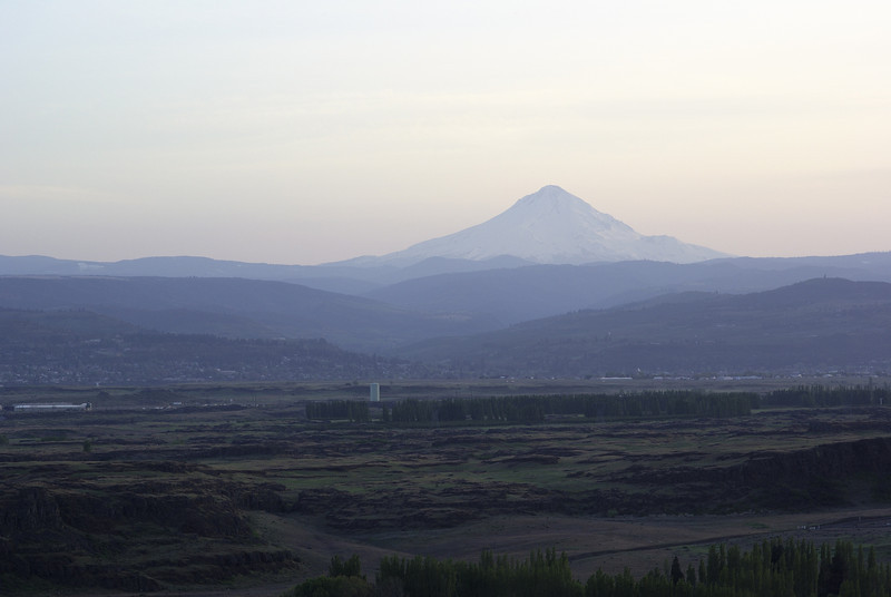 Horsethief Butte. Mount Hood through the haze.