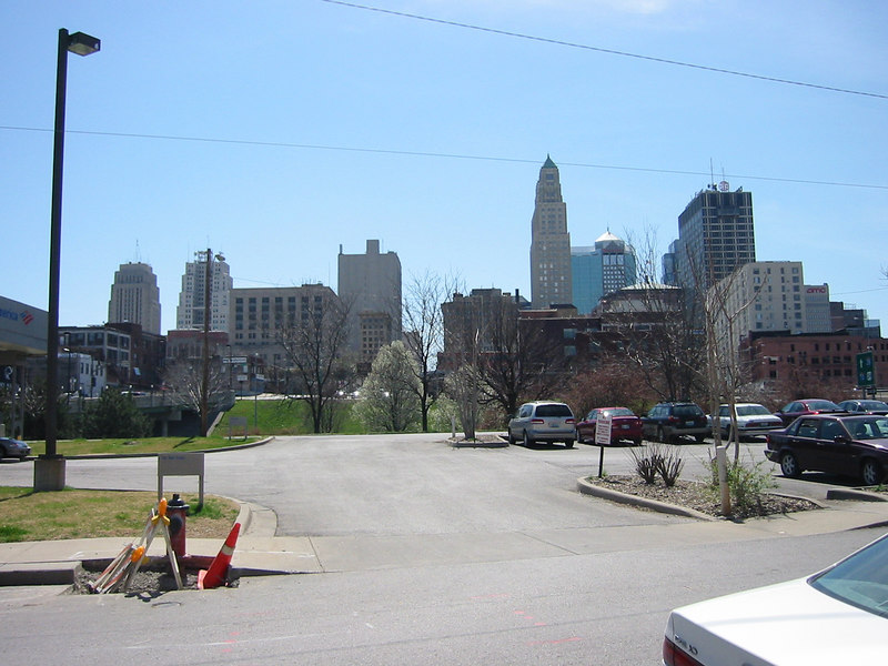 Downtown Kansas City, MO.  From the parking lot near the farmer's market