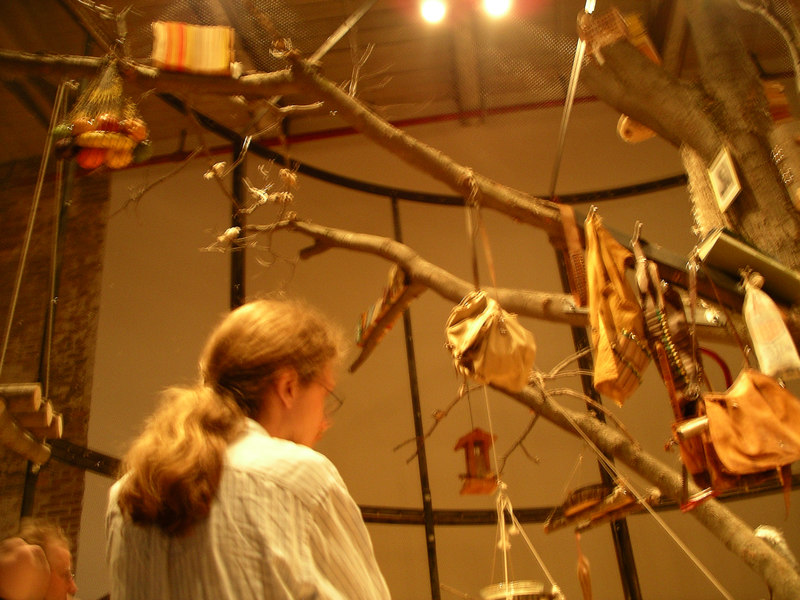 "Part of the ""Becoming Animal"" exhibit was a library for birds.  There were actually live African Finches in a large cage."