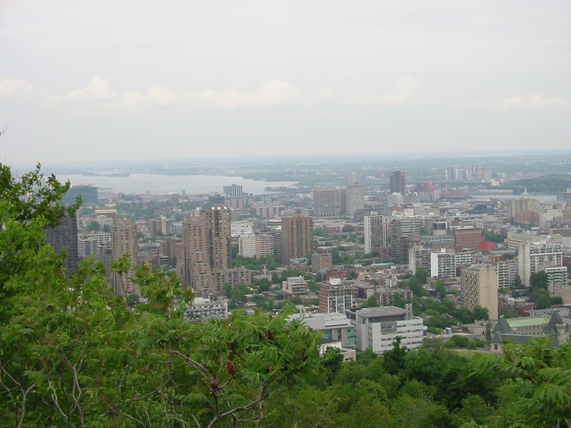 View of Montreal from Mont Real. Montreal is named after Mount Real. The current city is build around this hill and it is now a park, with some nice trails and a wonderful view of the city