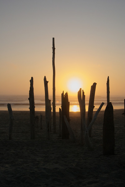 Sunset at Beachside State Park.  Somebody had erected these pieces of driftwood in a cross, made for a nice backdrop.