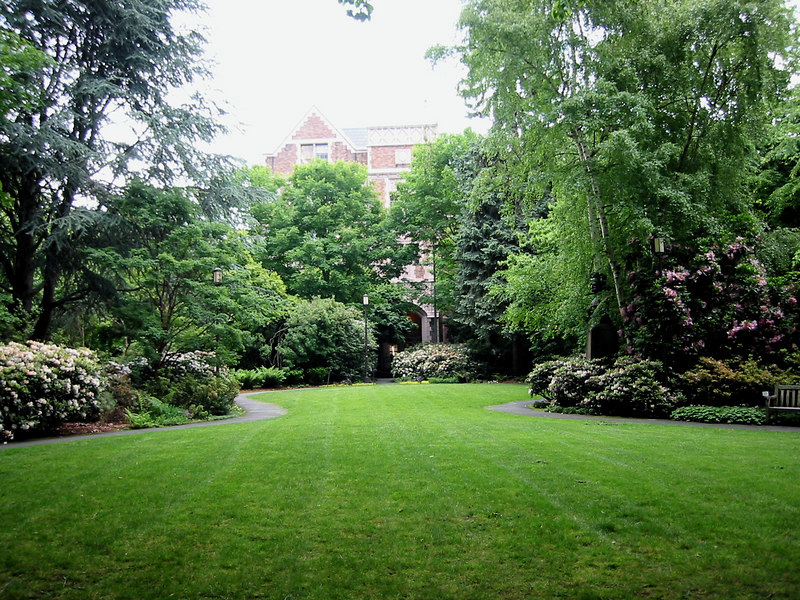 Garden at the University of Washington.  The bust to the right is Greig.