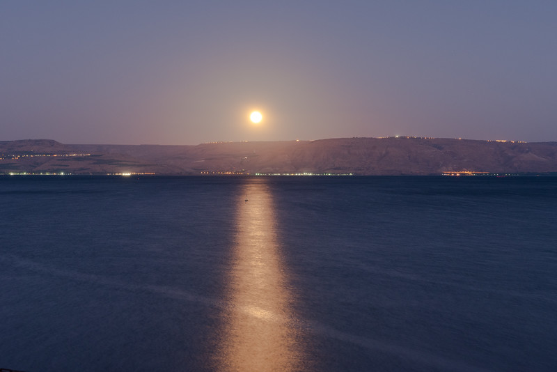 Moonrise over Sea of Galilee