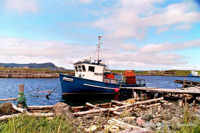 """""""Blue Fishing Boat""""  in Ferryland, Newfoundland 2005"""