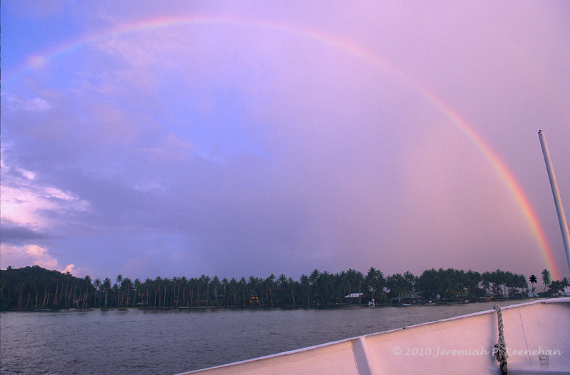 Pink Sky & Rainbow Over the Blue Lagoon Resort in Truk Lagoon, 2010