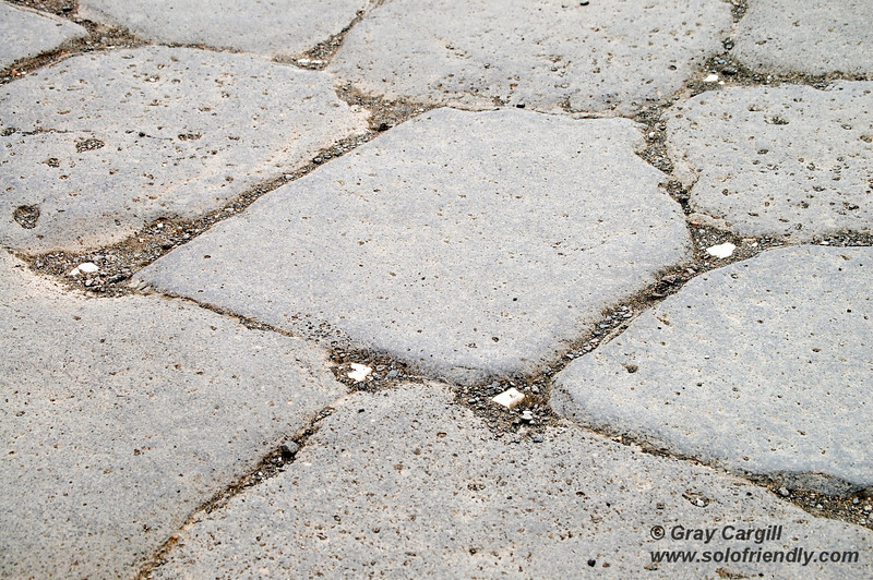 White stones in the street