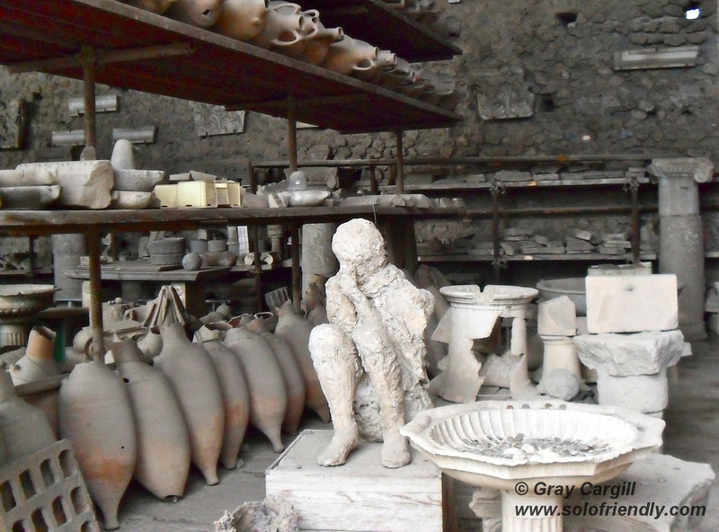 Plaster mold of boy in Pompeii