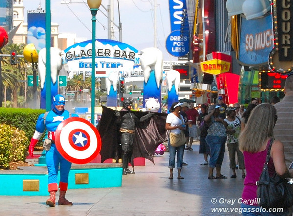 Costumed characters on the Strip